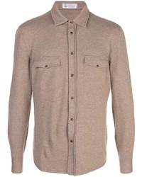 Chemise à manches longues en laine marron Brunello Cucinelli