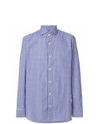 Chemise à manches longues en lin à carreaux bleu clair Borrelli