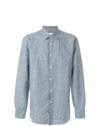 Chemise à manches longues en lin à carreaux bleu clair Brioni