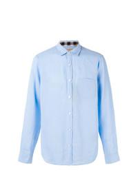 Chemise à manches longues en lin à carreaux bleu clair Burberry