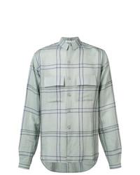 Chemise à manches longues en lin à carreaux bleu clair Denis Colomb