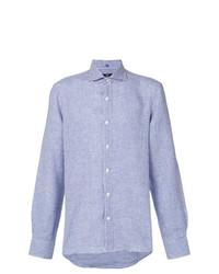 Chemise à manches longues en lin à carreaux bleu clair Fay