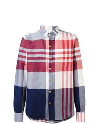 Chemise à manches longues en lin à carreaux multicolore Moncler Gamme Bleu