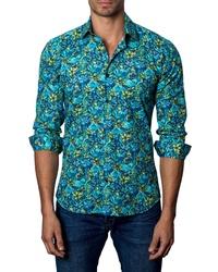 Chemise à manches longues en lin à fleurs turquoise