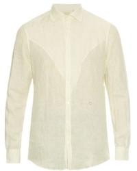 Chemise à manches longues en lin à rayures verticales blanche