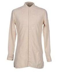 Chemise à manches longues en lin beige