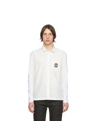 Chemise à manches longues en lin blanche et noire Neil Barrett