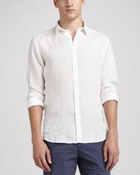 Chemise à manches longues en lin blanche