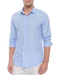 Chemise à manches longues en lin bleu clair