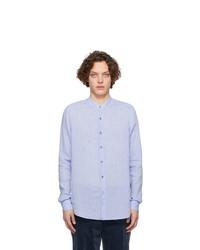 Chemise à manches longues en lin bleu clair Giorgio Armani