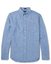 Chemise à manches longues en lin bleu clair J.Crew