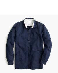 Chemise à manches longues en lin bleu marine