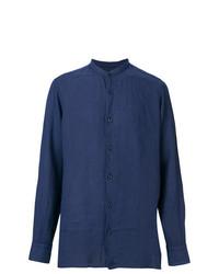 Chemise à manches longues en lin bleu marine Z Zegna