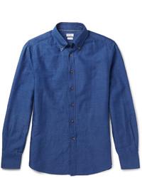 Chemise à manches longues en lin bleue Brunello Cucinelli