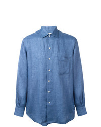Chemise à manches longues en lin bleue Loro Piana