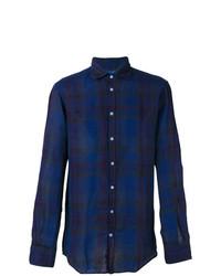 Chemise à manches longues en lin écossaise bleu marine Massimo Alba