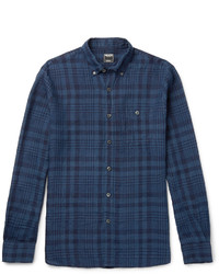 Chemise à manches longues en lin écossaise bleu marine Todd Snyder