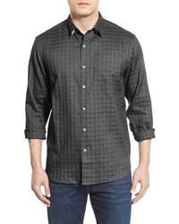 Chemise à manches longues en lin gris foncé