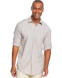 Chemise à manches longues en lin grise