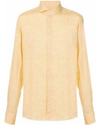 Chemise à manches longues en lin jaune