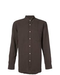 Chemise à manches longues en lin marron foncé
