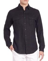 Chemise à manches longues en lin noire