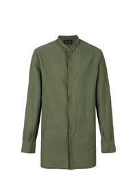 Chemise à manches longues en lin olive