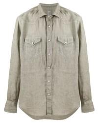 Chemise à manches longues en lin olive Eleventy