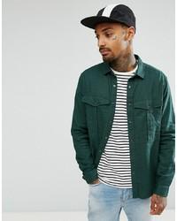 Chemise à manches longues en lin vert foncé