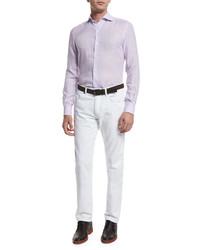 Chemise à manches longues en lin violet clair