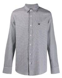 Chemise à manches longues en pied-de-poule noire et blanche Emporio Armani