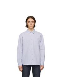 Chemise à manches longues en seersucker à rayures verticales blanc et bleu