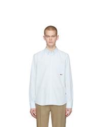 Chemise à manches longues en seersucker à rayures verticales bleu clair Moncler