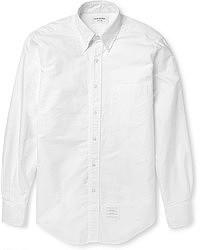 Chemise à manches longues en seersucker blanche