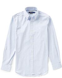Chemise à manches longues en seersucker bleu clair
