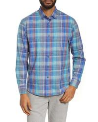 Chemise à manches longues en soie bleu clair