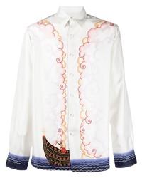 Chemise à manches longues en soie imprimée blanche Lanvin
