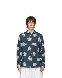 Chemise à manches longues en soie imprimée bleu marine Lanvin