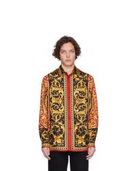 Chemise à manches longues en soie imprimée multicolore Versace