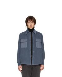 Chemise à manches longues en velours côtelé bleu marine AMI Alexandre Mattiussi