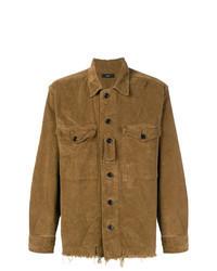 Chemise à manches longues en velours côtelé marron
