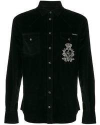 Chemise à manches longues en velours côtelé noire Dolce & Gabbana