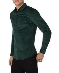 Chemise à manches longues en velours côtelé vert foncé