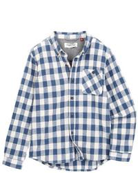 Chemise à manches longues en vichy blanc et bleu marine