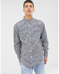 Chemise à manches longues en vichy blanc et bleu marine Abercrombie & Fitch