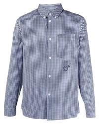 Chemise à manches longues en vichy blanc et bleu marine adidas