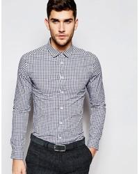 Chemise à manches longues en vichy blanc et bleu marine Asos