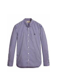 Chemise à manches longues en vichy blanc et bleu marine Burberry