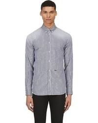 Chemise à manches longues en vichy blanc et bleu marine DSquared