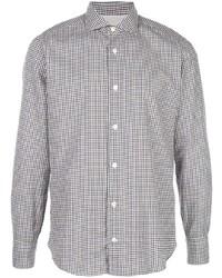 Chemise à manches longues en vichy blanc et bleu marine Eleventy